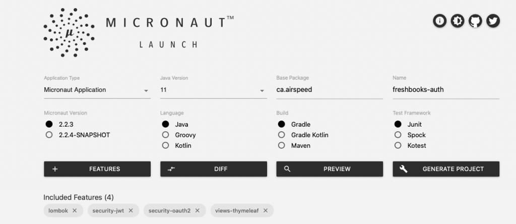 Screen shot of Micronaut Launch